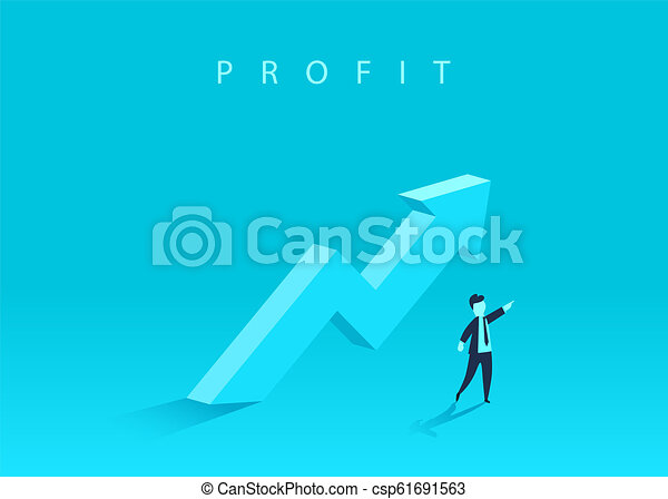 Concept of business growth with an upward arrow and a businessman showing the direction. Symbol of success, achievement. - csp61691563