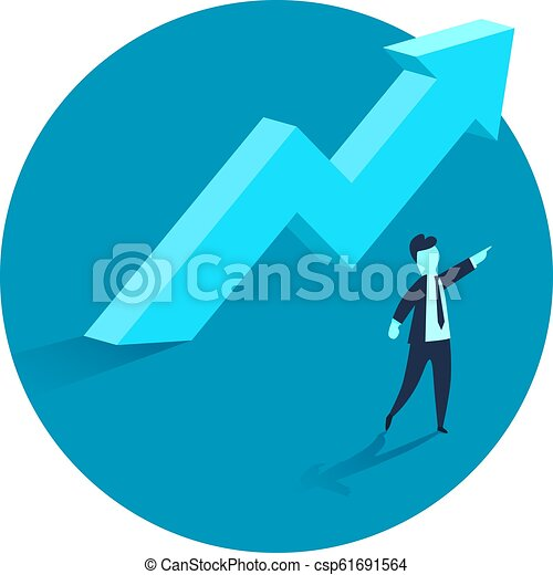 Concept of business growth with an upward arrow and a businessman showing the direction. Symbol of success, achievement. - csp61691564