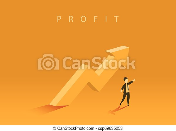 Concept of business growth with an upward arrow and a businessman showing the direction. Symbol of success, achievement. - csp69635253