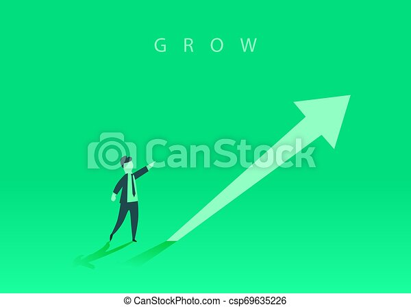 Concept of business growth with an upward arrow and a businessman showing the direction. Symbol of success, achievement. - csp69635226