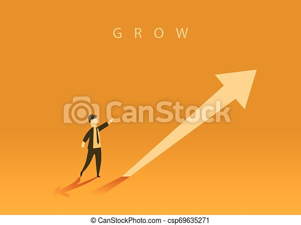 Concept of business growth with an upward arrow and a businessman showing the direction. Symbol of success, achievement. - csp69635271