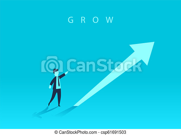Concept of business growth with an upward arrow and a businessman showing the direction. Symbol of success, achievement. - csp61691503