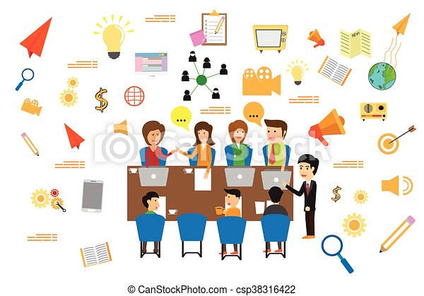 Concept of business meeting, exchange ideas and experience, coworking people and discussion, advertise production vector illustration. - csp38316422