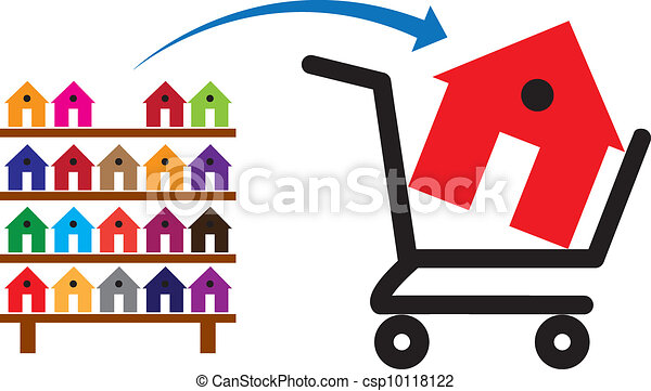 Concept of buying a house or property on sale. The shopping trolley with a house in it is symbolic of the sale. The rack of colorful houses show residences and property available for purchase - csp10118122