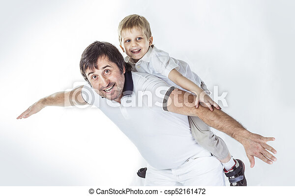 concept of children's happiness: happy father playing with his five year old son - csp52161472
