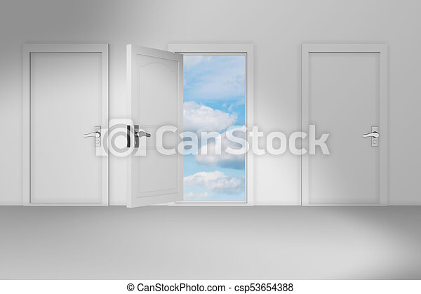Concept of choice with many doors opportunity - 3d rendering stock ...