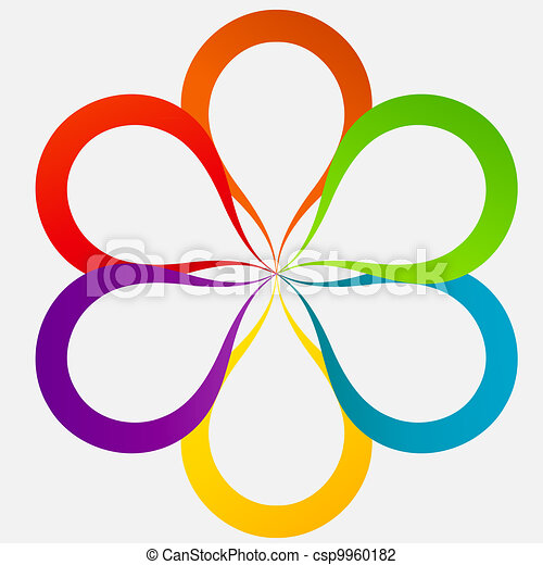 Concept of colorful circular banners in flower form for different business design. Vector illustration - csp9960182