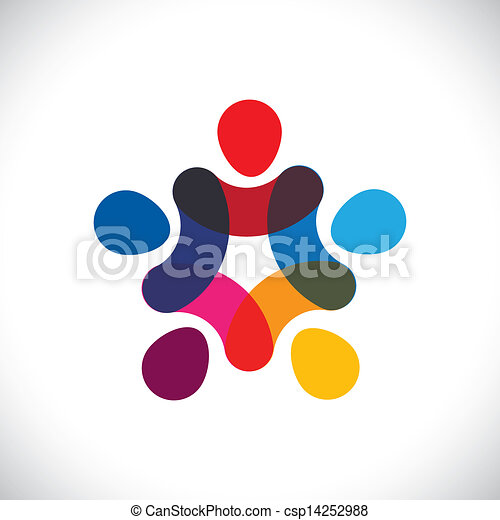 Concept of community unity, solidarity & friendship- vector graphic. This illustration can also represent colorful kids playing together holding hands together in circles or union of workers, etc - csp14252988