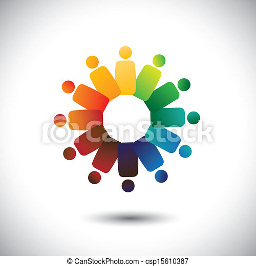 Concept of community unity, solidarity & friendship- vector graphic. This illustration also represents colorful children(kids) playing together in circles or union of workers, employee meetings, etc - csp15610387