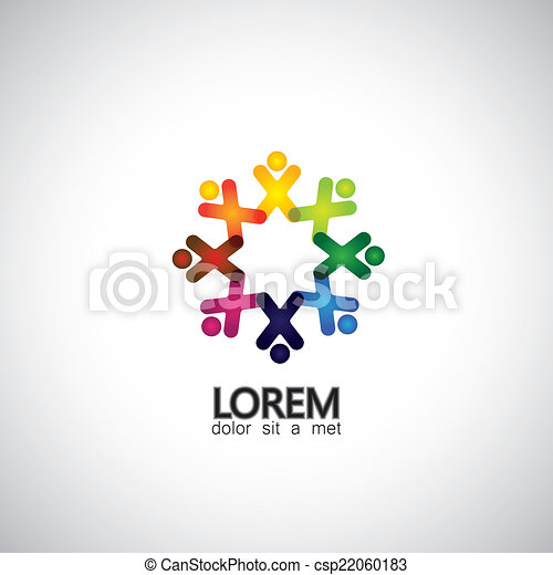 Concept of community unity, solidarity & people icons - vector g - csp22060183