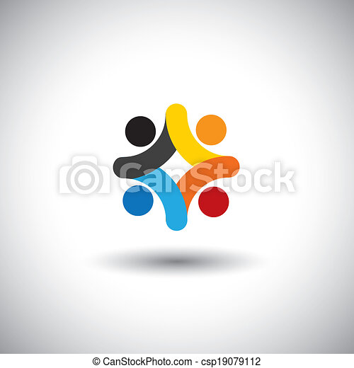 Concept of community unity, solidarity & people icons - vector graphic. This illustration can also represent colorful kids playing together, children in school playground, employees meeting - csp19079112