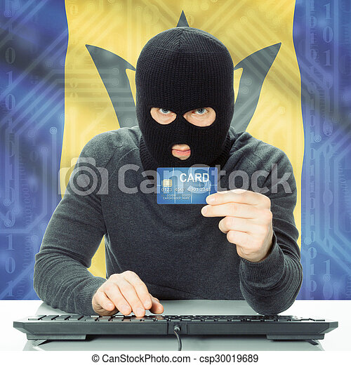 Concept of cybercrime with national flag on background - Barbados - csp30019689
