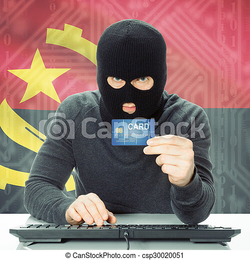 Concept of cybercrime with national flag on background - Angola - csp30020051
