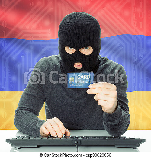 Concept of cybercrime with national flag on background - Armenia - csp30020056