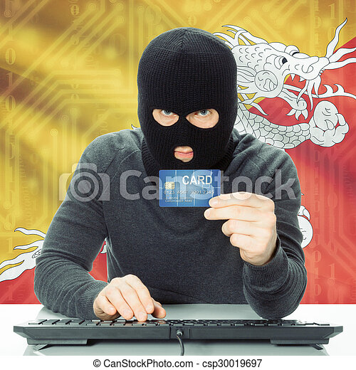 Concept of cybercrime with national flag on background - Bhutan - csp30019697