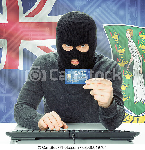 Concept of cybercrime with national flag on background - British Virgin Islands - csp30019704