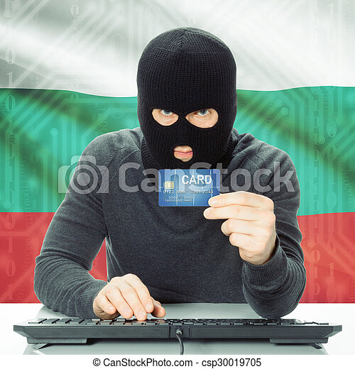 Concept of cybercrime with national flag on background - Bulgaria - csp30019705
