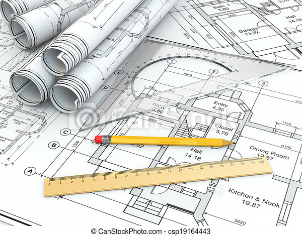 Concept of drawing. blueprints and drafting tools. 3d.