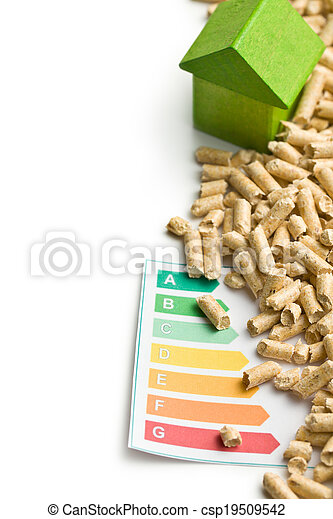 Concept of ecological and economic heating. Wooden pellets. - csp19509542