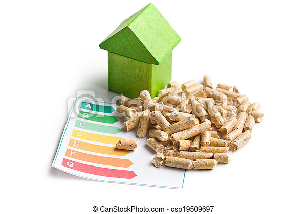 Concept of ecological and economic heating. Wooden pellets. - csp19509697