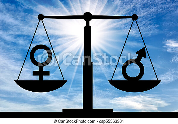 Concept Of Equal Rights For Women With Men Silhouette Of Gender