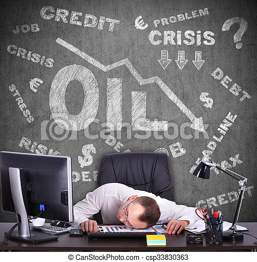concept of falling oil prices on the world market - csp33830363