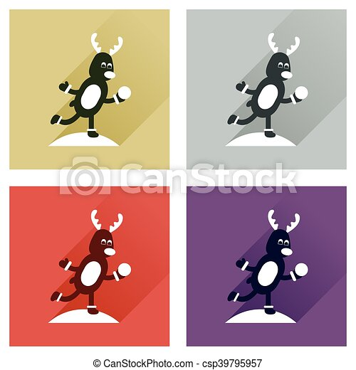 Concept of flat icons with long shadow Deer snow - csp39795957