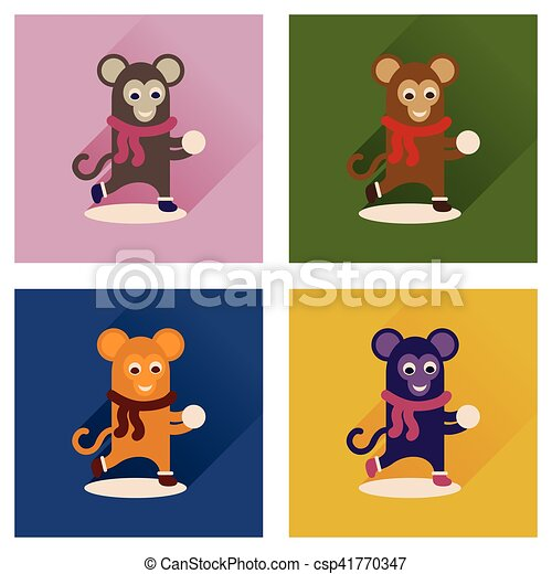 Concept of flat icons with long shadow monkey snow - csp41770347