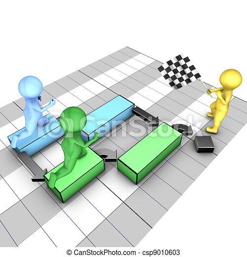 Concept of gantt chart. A team completes tasks. The flagman symbolizes the project deadline. - csp9010603