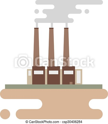 Concept of industrial factory buildings  flat design style. - csp30406284