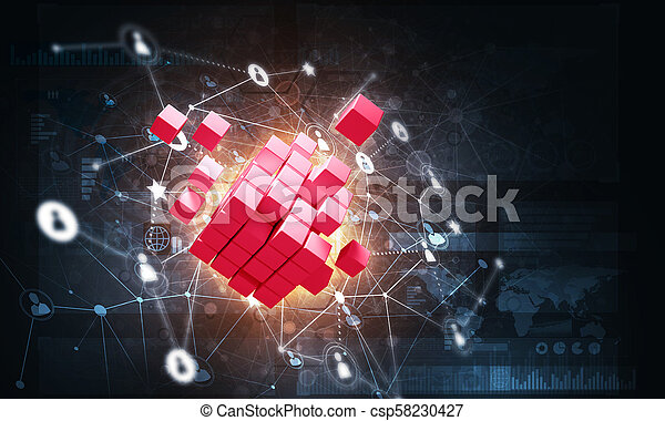 Concept of Internet and networking with digital cube figure on dark background - csp58230427