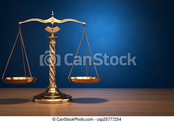 Concept of justice. Law scales on blue background. - csp25777254
