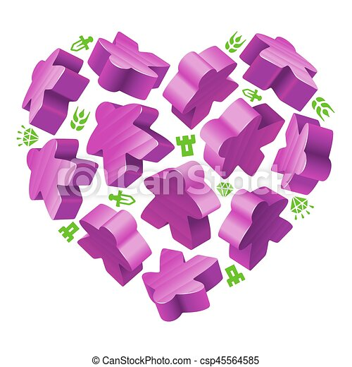 Vector Game Pieces In The Shape Of Heart Purple Wooden Meeples And