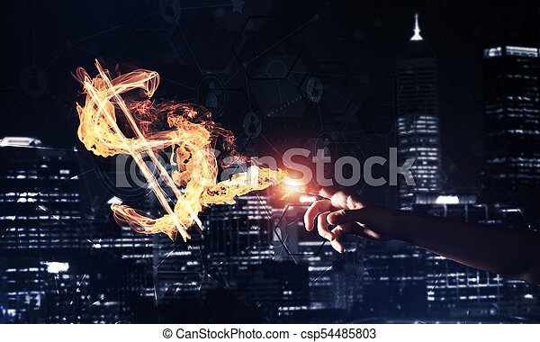Concept of money making with dollar currency fire symbol on dark - csp54485803