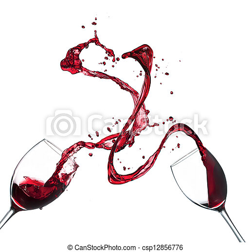 Concept of red wine splashing from glasses, isolated on white background - csp12856776