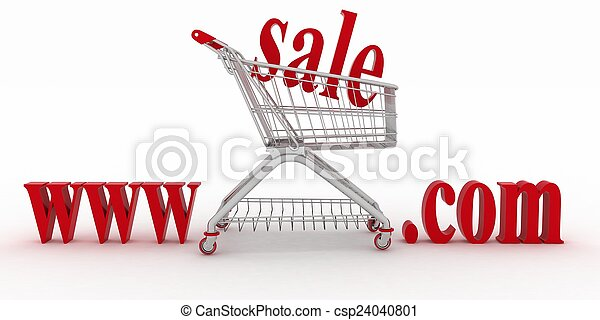 Concept of shopping on the web sites of commercial. 3d illustration on a white background - csp24040801