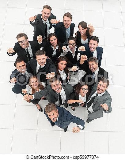 concept of success. numerous triumphant business team - csp53977374