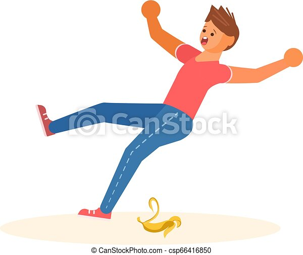 Concept of the man slipped on a banana peel - csp66416850