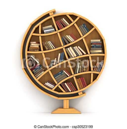 Concept of training. Wooden bookshelf in form of globe. Science about locality. Geography. A human have more knowledge. - csp30523199