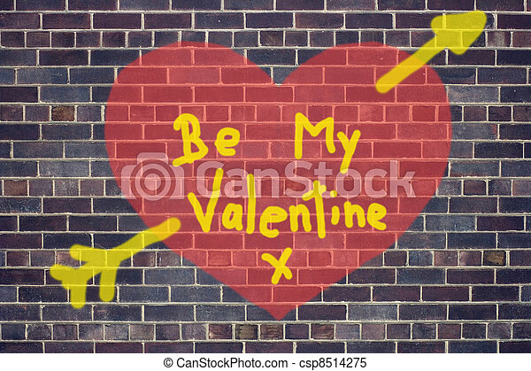Concept Of Valentines Day Heart Graffiti On Brick Wall Background