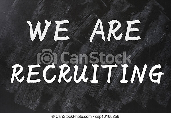 Concept of we are recruiting written on smudged blackboard background - csp10188256