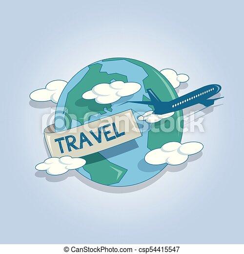 Concept Ongeveer Globe Reizen Het Reizen Vliegtuig Concept
