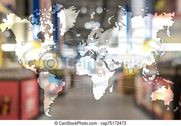 concept., partnership., エクスポート, 輸入, 世界的である, 地図, ロジスティクス - csp75172473