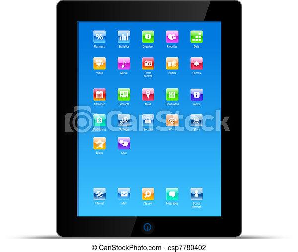 concept, pc tablette, vecteur, tampon, toucher - csp7780402