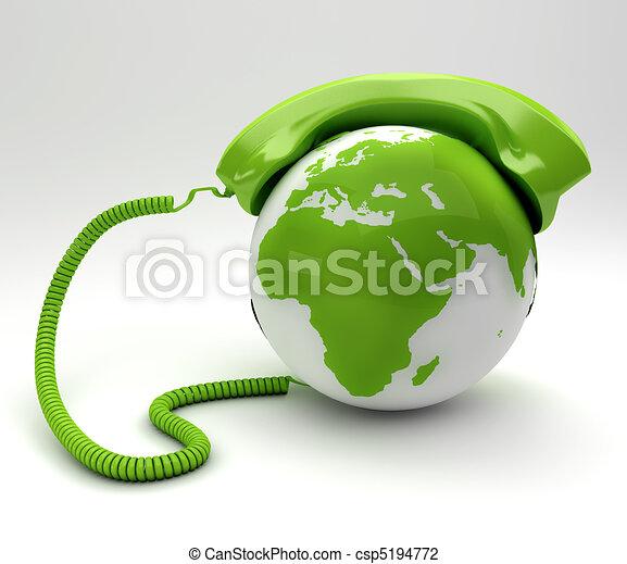 concept, phoneand, global, -, planète, vert, teleommunications - csp5194772