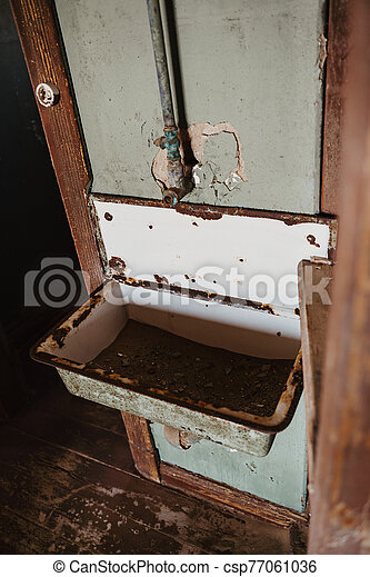 concept photo for bathroom renovation - old destroyed bathing room - csp77061036