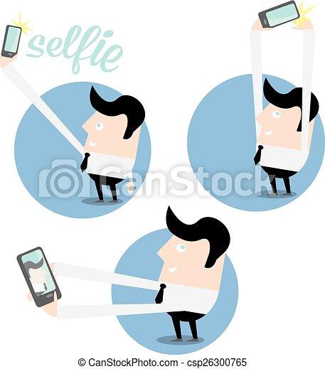 concept, photo, prendre, téléphone, selfie, intelligent - csp26300765