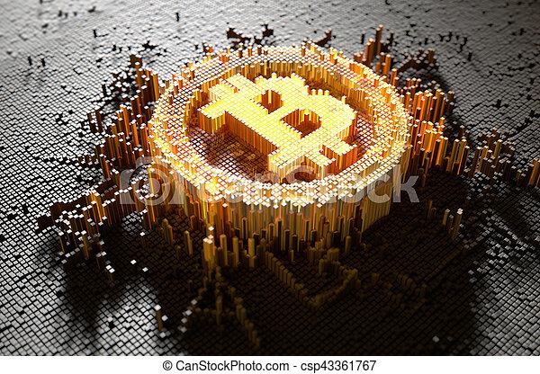 concept, pixel, bitcoin - csp43361767