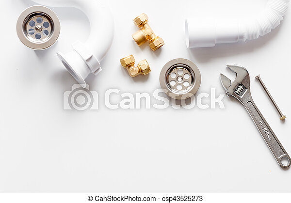 concept plumbing work top view on white background - csp43525273