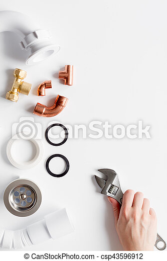 concept plumbing work top view on white background - csp43596912